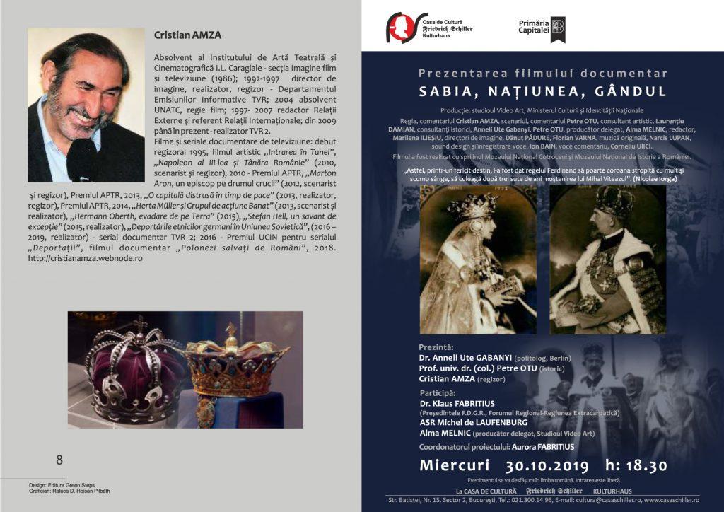 premiera film documentar Sabia, Națiunea, Gandul
